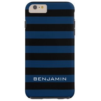 Navy Blue and Black Rugby Stripes with Custom Name Tough iPhone 6 Plus Case