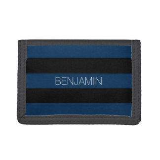 Navy Blue and Black Rugby Stripes with Custom Name Tri-fold Wallet