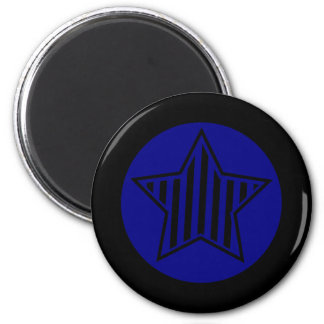 Navy Blue and Black Star Round Magnet
