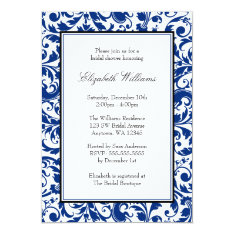 Navy Blue and Black Swirl Damask Bridal Shower Card at Zazzle