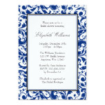 Navy Blue and Black Swirl Damask Bridal Shower Custom Invites