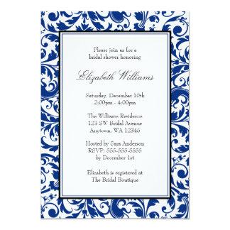 Navy Blue and Black Swirl Damask Bridal Shower 5x7 Paper Invitation Card