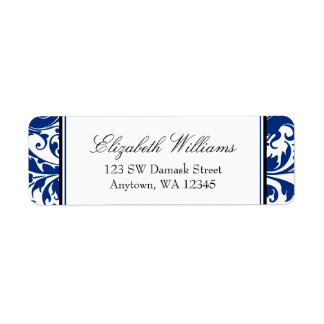 Navy Blue and Black Swirl Damask Return Address Label