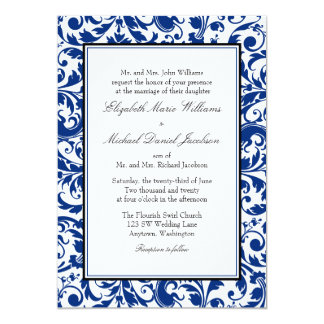 Navy Blue and Black Swirl Damask Wedding Card