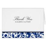 Navy Blue and Black Swirl Damask Wedding Thank You Card