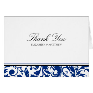 Navy Blue and Black Swirl Damask Wedding Thank You Card