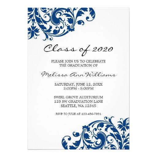 Navy Blue and Black Swirl Graduation Announcement