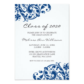 Navy Blue and Black Swirl Graduation Announcement