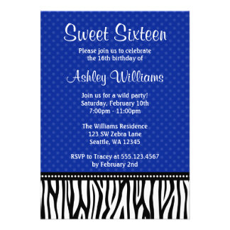 Navy Blue and Black Zebra Polka Dot Sweet 16 Personalized Announcement