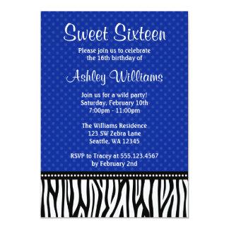 Navy Blue and Black Zebra Polka Dot Sweet 16 5x7 Paper Invitation Card