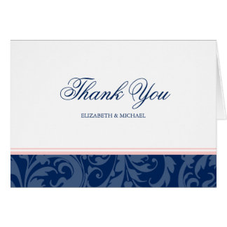 Navy Blue and Blush Pink Damask Swirl Thank You Card