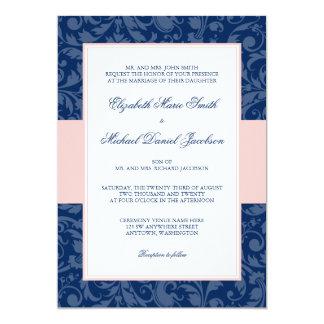 Navy Blue and Blush Pink Damask Swirl Wedding Invitation