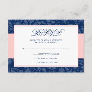 Navy Blue and Blush Pink Damask Swirl Wedding RSVP