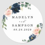 """Navy Blue and Blush Pink Floral Country Wedding Classic Round Sticker<br><div class=""""desc"""">Design features beautiful watercolor peony,  rose,  eucalyptus,  greenery,  foliage/leaf elements in shades of green,  gold,  blush pink/pink peach,  and navy blue. This template also features a modern typography layout. View the collection on this page to find matching items in this design.</div>"""