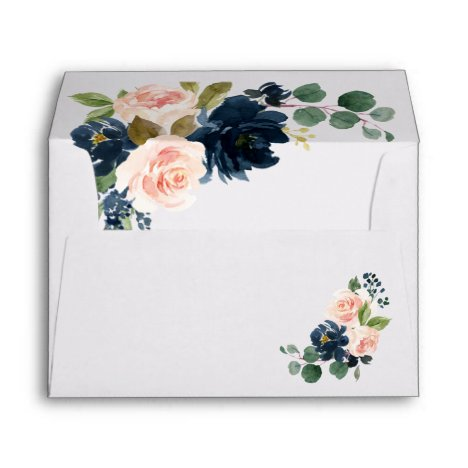 Navy Blue and Blush Pink Floral Country Wedding Envelope