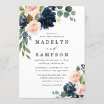 """Navy Blue and Blush Pink Floral Country Wedding Invitation<br><div class=""""desc"""">Design features beautiful watercolor peony,  rose,  eucalyptus,  greenery,  foliage/leaf elements in shades of green,  gold,  blush pink/pink peach,   and navy blue.  This template also features a modern typography layout.  View the collection on this page to find matching items in this design.</div>"""
