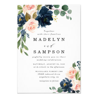 Navy Blue and Blush Pink Floral Country Wedding Invitation