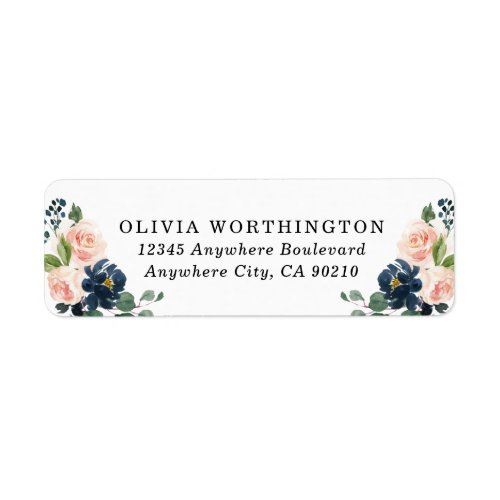 Navy Blue and Blush Pink Floral Country Wedding Label