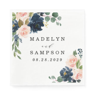 Navy Blue and Blush Pink Floral Country Wedding Napkins