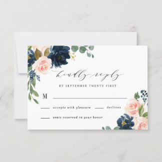 Navy Blue and Blush Pink Floral Country Wedding RSVP Card