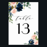 """Navy Blue and Blush Pink Floral Country Wedding Table Number<br><div class=""""desc"""">Design features beautiful watercolor peony,  rose,  eucalyptus,  greenery,  foliage/leaf elements in shades of green,  gold,  blush pink/pink peach,  and navy blue. This template also features a modern typography layout. View the collection on this page to find matching items in this design.</div>"""