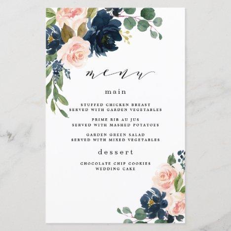 Navy Blue and Blush Pink Floral Wedding Menu Cards