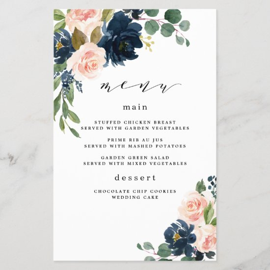 Navy Blue and Blush Pink Floral Wedding Menu Cards