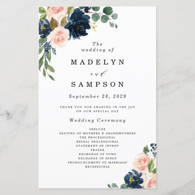 Navy Blue and Blush Pink Floral Wedding Programs