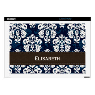 """Navy Blue and Brown Damask 17"""" Laptop Decals"""