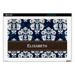 "Navy Blue and Brown Damask Decal For 17"" Laptop"