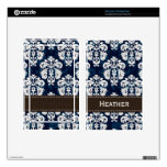 Navy Blue and Brown Damask Decals For Kindle Fire