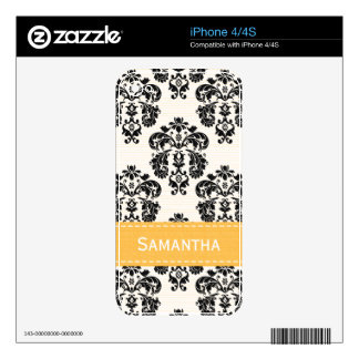 Navy Blue and Brown Damask Skins For The iPhone 4