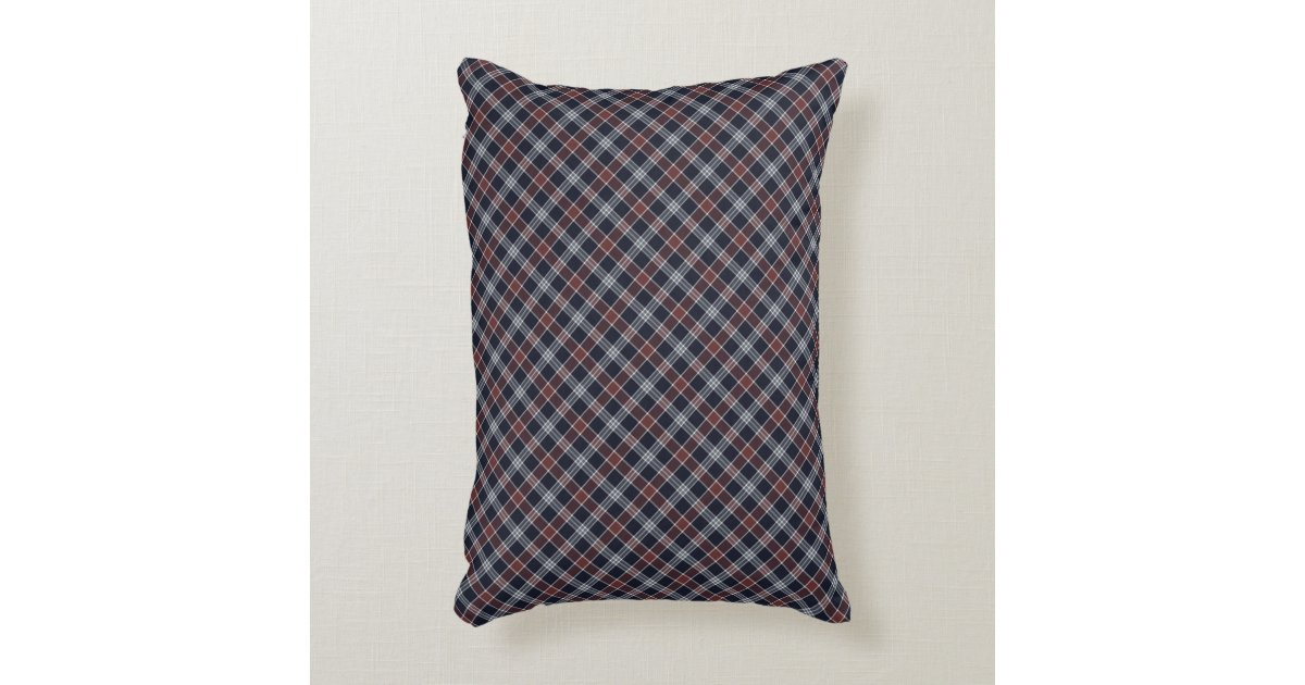 Burgundy Plaid Throw Pillows : Navy Blue and Burgundy Plaid Accent Pillow Zazzle