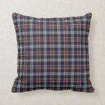 Navy Blue and Burgundy Plaid Square Pillow