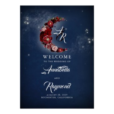 Art Themed Navy Blue and Burgundy Starry Wedding Welcome Sign