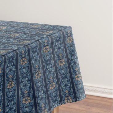 Coffee Themed Navy Blue And Coffee Stripe Floral Pattern Tablecloth