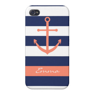 Navy Blue and Coral Anchor Monogram Case