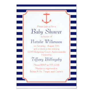 Navy Blue and Coral Anchor Silhouette 5x7 Paper Invitation Card