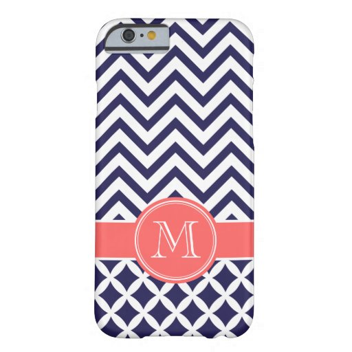 Navy Blue and Coral Chevron Custom Monogram Barely There Iphone 6 Case
