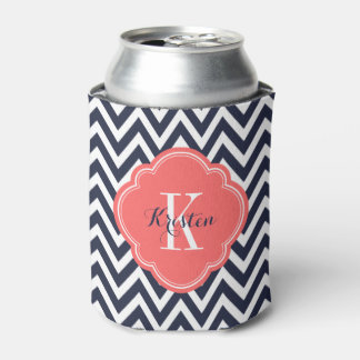 Navy Blue and Coral Chevron Monogram Can Cooler