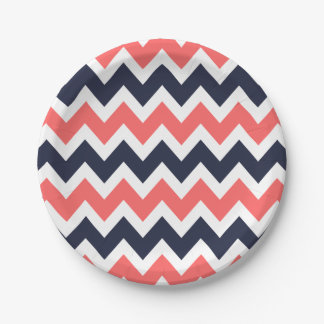 Navy Blue and Coral Chevron Paper Plate