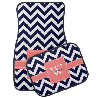 Navy Blue and Coral Chevrons Monogrammed Car Floor Mat