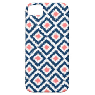 Navy Blue and Coral Diamond Ikat Pattern iPhone 5 Covers
