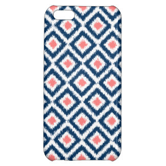 Navy Blue and Coral Diamond Ikat Pattern Case For iPhone 5C
