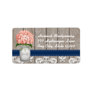Navy Blue and Coral Hydrangea Monogram Mason Jar Label