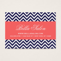 Navy Blue And Coral Modern Chevron Stripes Business Card at Zazzle