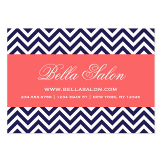 Navy Blue and Coral Modern Chevron Stripes Large Business Card