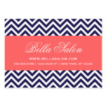 Navy Blue and Coral Modern Chevron Stripes Large Business Cards (Pack Of 100)