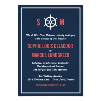 Navy Blue and Coral Nautical Wedding Invitation