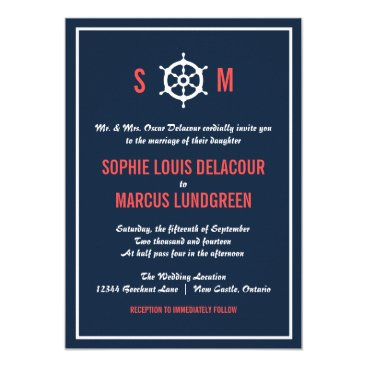 Beach Themed Navy Blue and Coral Nautical Wedding Invitation